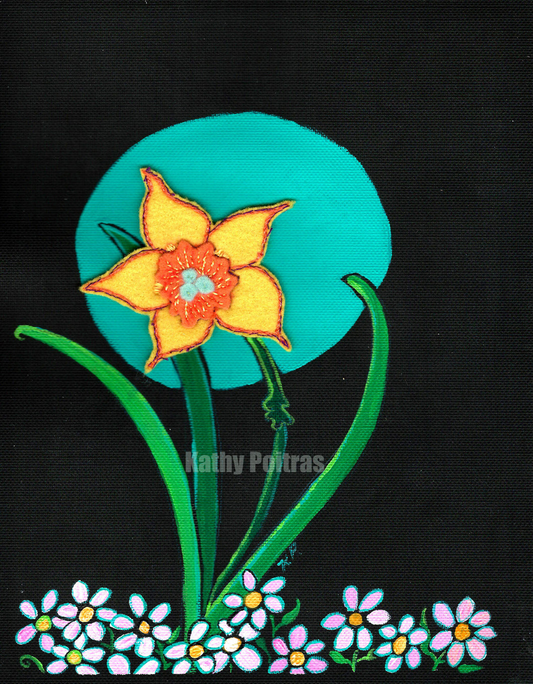 felt daffodil blossom with hand embroidery. mounted on acrylic painting  on black canvas paper with a turquoise moon and small pink flowers at the bottom