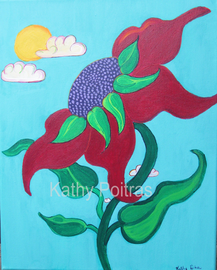 acrylic painting abstract red poppy with sunshine and puffy clouds in the background. by Kathy Poitras