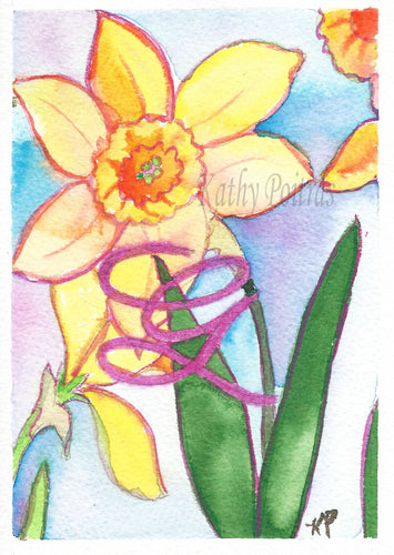 Greeting Card, Birthday Card, Mothers Day Card, watercolor and ink. Daffodils are the flower of the month for March. This flower of the month card is personalized with a fancy letter G.   by artist Kathy Poitras