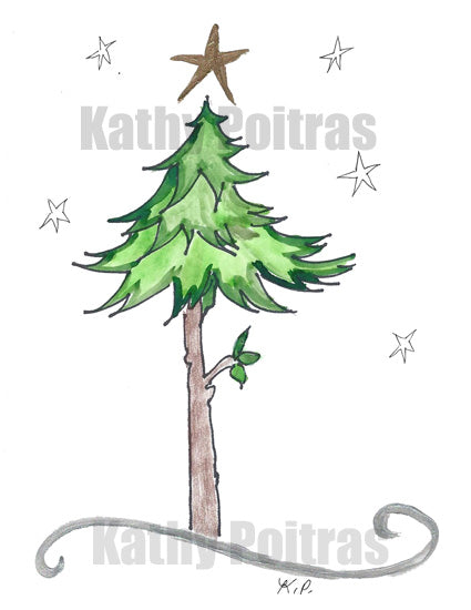 whimsical tall tree with gold star on top
