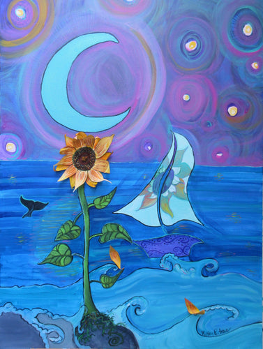Whimsical  expressionist acrylic painting with 3D  sculpted sunflower made of molding paste and canvas. . A sunflower grown on the edge of the waves. It is night time, a wale tail and whimsical sail boat are on the water, there are orbs in the night sky and a blue crescent moon.