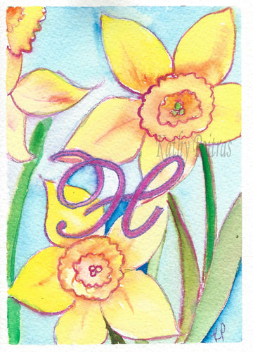 Greeting Card, Birthday Card, Mothers Day Card, watercolor and ink. Daffodils are the flower of the month for March. This flower of the month card is personalized with a fancy letter H.  by artist Kathy Poitras