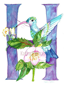 Illustrated letter Wall art, nursery art. H is for Hummingbird, Hellebores flowers.    by artist Kathy Poitras