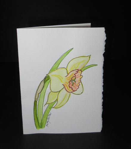 Daffodil Celebration #1.  Watercolor art card. One of a kind.