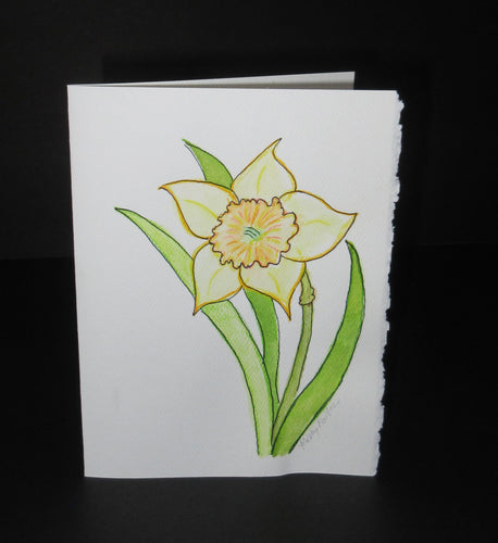 Daffodil Celebration #2.  Watercolor art card. One of a kind.