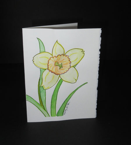 Daffodil Celebration #3.  Watercolor art card. One of a kind.