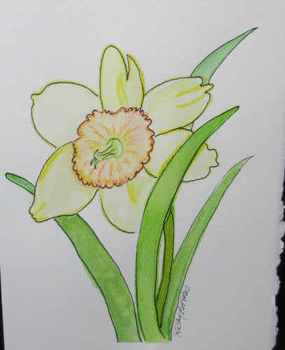 Copy of Daffodil Celebration #4.  Watercolor art card. One of a kind.