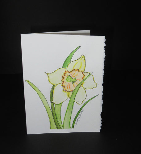 Daffodil Celebration #5.  Watercolor art card. One of a kind.