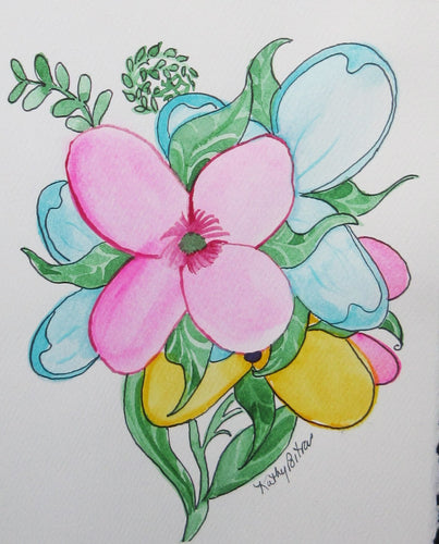 Balloon Flower Bouquet.  watercolor art card. One of a kind.