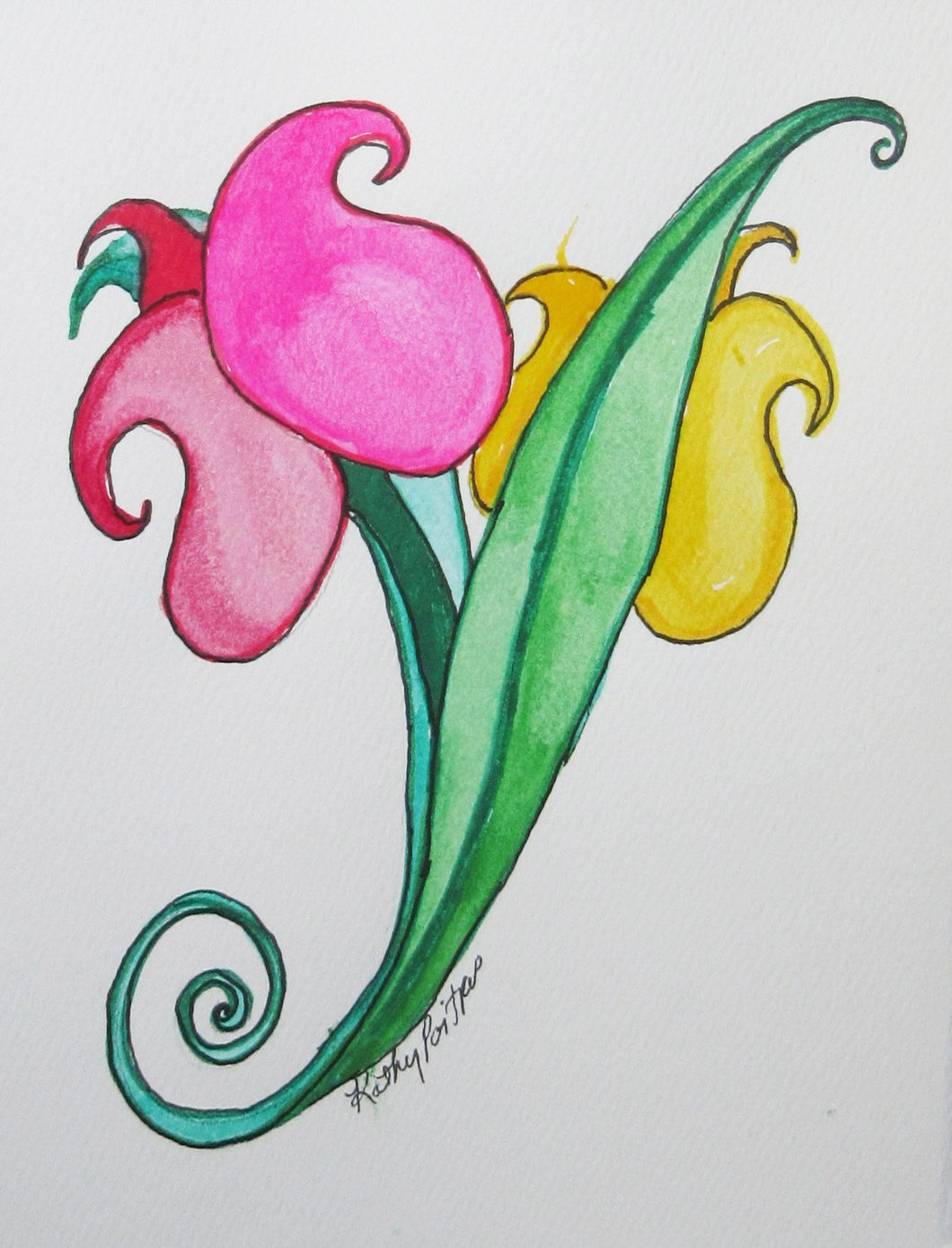 abstract watercolor and ink tulip art card with deckle edge. Two tulips. One pink, one yellow