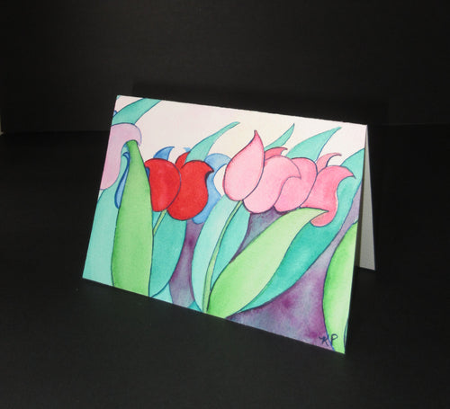 TU32 original one of a kind watercolor art. Abstract tulips. pink and red.