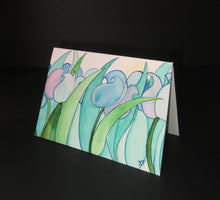 Moody Tulips in blues and purples. Hand painted watercolor art card.