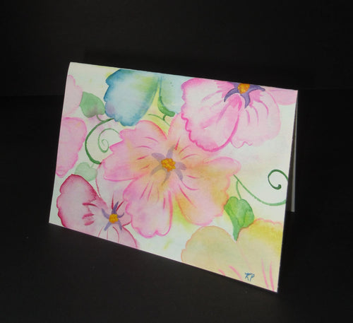 Sunny Splash of abstract flowers.  Watercolor art card