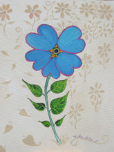 An acrylic painting of a single tiny blue Forget Me Not blossom. The background is beige with impressions of natural elements in a darker beige. A classic folk art style by Canadian folk artist Kathy Poitras.