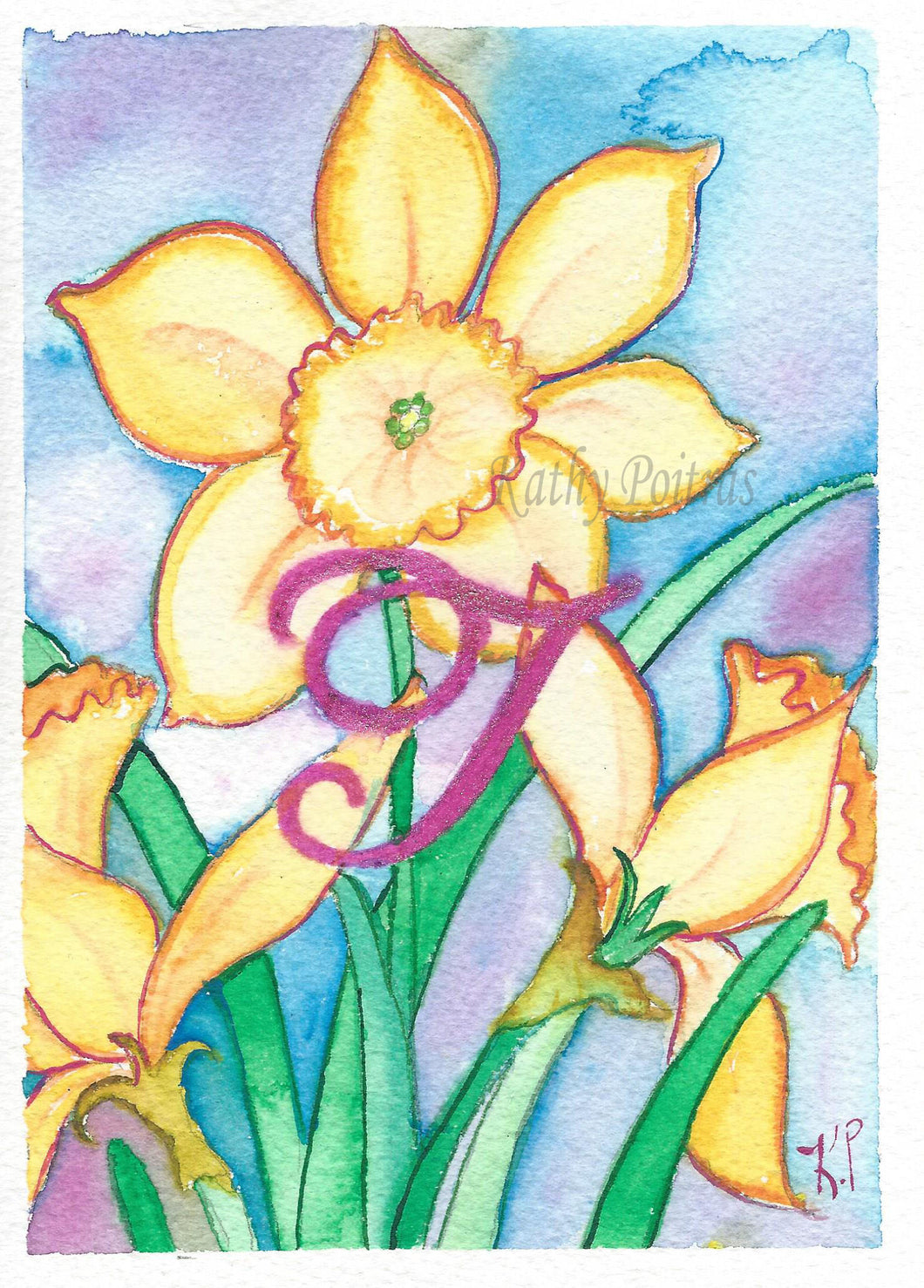 Greeting Card, Birthday Card, Mothers Day Card, watercolor and ink. Daffodils are the birth flower of the month for March. This flower of the month card is personalized with a fancy letter I.   by artist Kathy Poitras