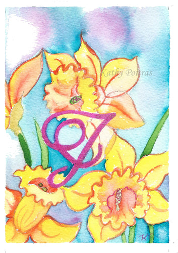 Greeting Card, Birthday Card, Mothers Day Card, watercolor and ink. Daffodils are the birth flower of the month for March. This flower of the month card is personalized with a fancy letter J.    by artist Kathy Poitras
