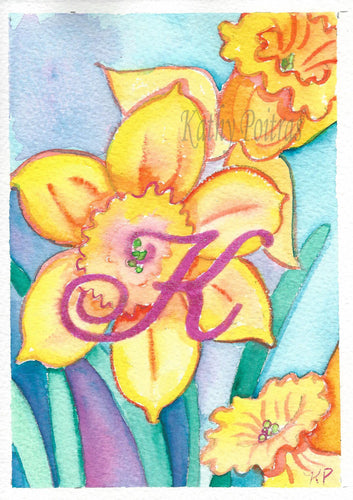 Greeting Card, Birthday Card, Mothers Day Card, watercolor and ink. Daffodils are the birth flower of the month for March. This flower of the month card is personalized with a fancy letter K.  by artist Kathy Poitras