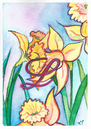 Greeting Card, Birthday Card, Mothers Day Card, watercolor and ink. Daffodils are the birth flower of the month for March. This flower of the month card is personalized with a fancy letter L by artist Kathy Poitras