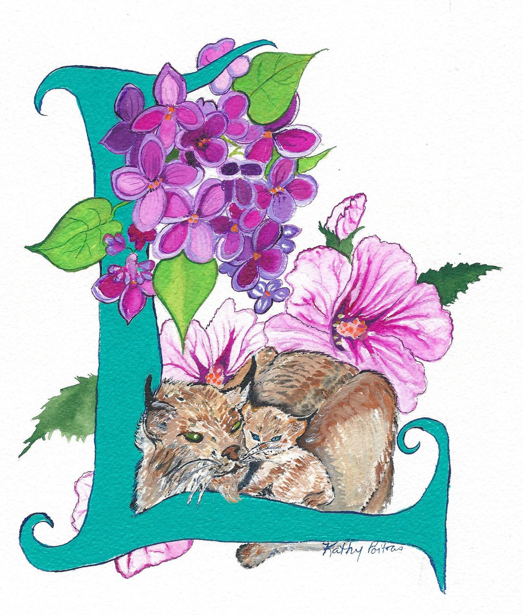 Illustrated Letter L is for Lynx and Lilacs