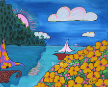 acrylic folk art painting of two fantasy sailboats on the water. In the foreground there is a hill covered in bright yellow flowers, in the background there is a mountain with trees, a pink sun peeking out and puffy clouds in the sky. By artist Kathy Poitras.