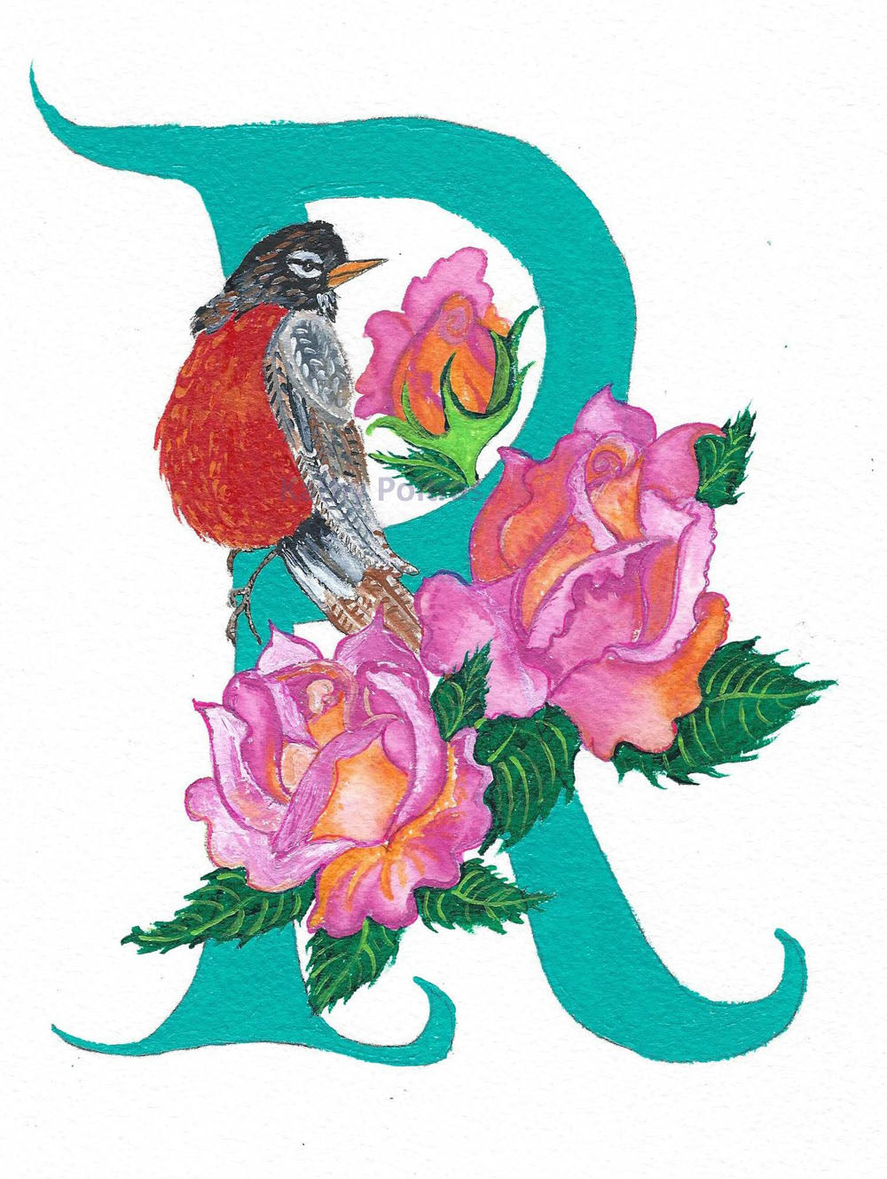 Illustrated Letter R for Robin and Roses