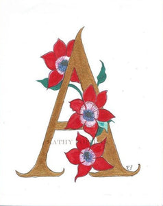 Letter A is for Anemones. Illustrated  hand detailed letter A,  print on fine art inkjet paper
