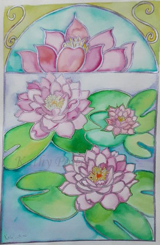 Lotus Flowers watercolor and silver metallic ink painting