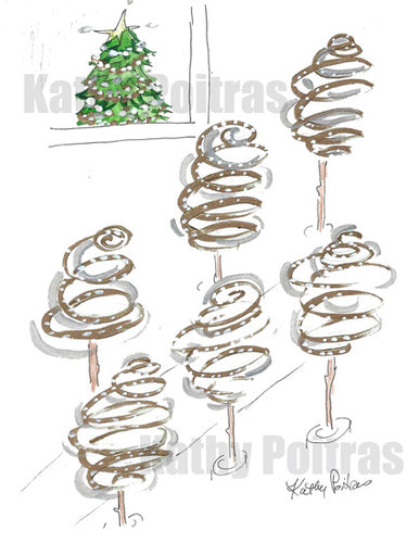 Swirly impressions of city Christmas trees, with a Christmas tree is some one's window.  Christmas on Lower Lonsdale. Printable Christmas Card