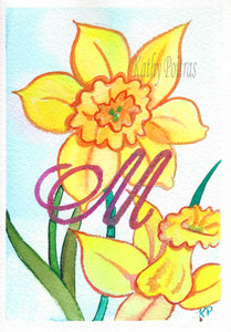 Greeting Card, Birthday Card, Mothers Day Card, watercolor and ink. Daffodils are the birth flower of the month for March. This flower of the month card is personalized with a fancy letter M by artist Kathy Poitras