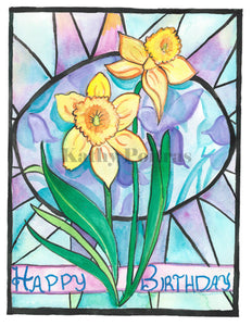 Hand made birthday card, in the naïve folk art style of Kathy Poitras. Inspired by the birth  flower of the month for March.    Two daffodils  with a stain glass inspired background.  Hand made and hand embellished. Happy Birthday is on the front of the card.