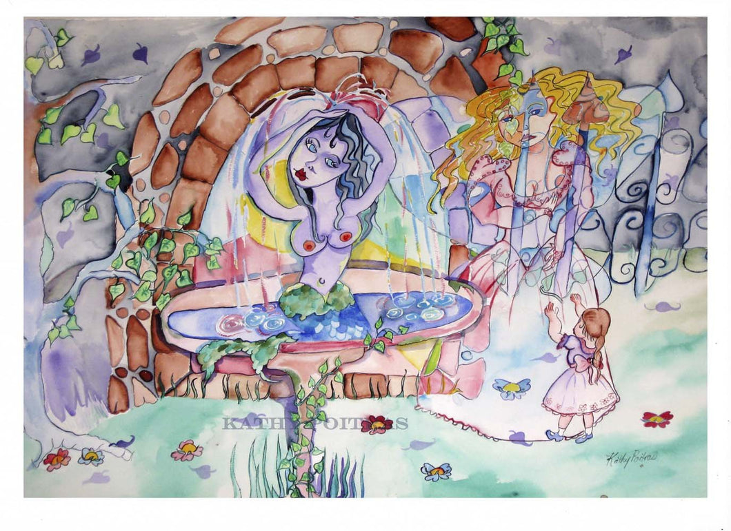 Naive fantasy painting. A mermaid sits in a fountain, there is a ghost of a lady and a little girl in the whimsical garden created from the imagination of artist Kathy Poitras