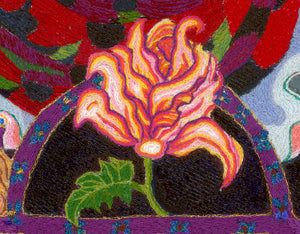 detail from a larger work by artots Kathy Poitras. Hand embroidered purple arch with gold metallic trim, yellow, orange and pink rose  inspired flower.
