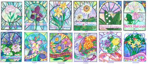 Mix and Match Flower of the month Birthday Cards by artist Kathy Poitras