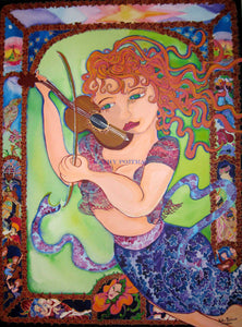 musical acrylic painting of whimsical woman with orange and pink hair, flying and playing an impression of a violin. There is a green background a border around the sides of the painting , depicting the eight dynamics of existence. Including a flower with person's face, a man, woman and baby, women playing instruments. International instruments and musicians, birds singing, boats sailing on the water, stars in the sky and a sunburst at the top. From the imagination of artist Kathy Poitras.
