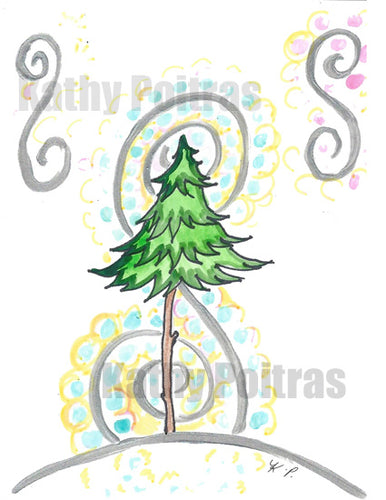 all whimsical Christmas Tree with whimsical images that remind me of music.