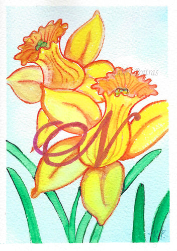 Greeting Card, Birthday Card, Mothers Day Card, watercolor and ink. Daffodils are the birth flower of the month for March. This flower of the month card is personalized with a fancy letter N by artist Kathy Poitras