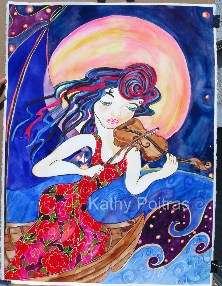 whimsical fantasy painting of a lady wearing a floral red dress in a small wooden boat playing an impression of a violin against a huge harvest moon to a mermaid below the starlit waves. From the imaginings of  artist Kathy Poitras.