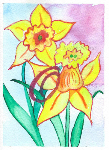 Greeting Card, Birthday Card, Mothers Day Card, watercolor and ink. Daffodils are the birth flower of the month for March. This flower of the month card is personalized with a fancy letter O by artist Kathy Poitras