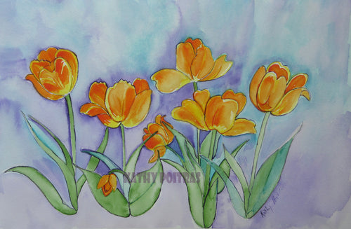 6 expressive watercolor orange tulips dance on a bluish purple wash background. By artist Kathy Poitras