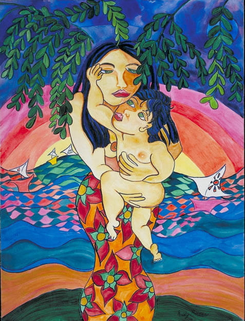 Paradise.   A naive expressionist acrylic painting of a mother and baby.   by artist Kathy Poitras