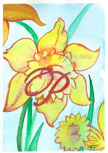 Birthday Card, Mothers Day Card, Daffodils with Letter P