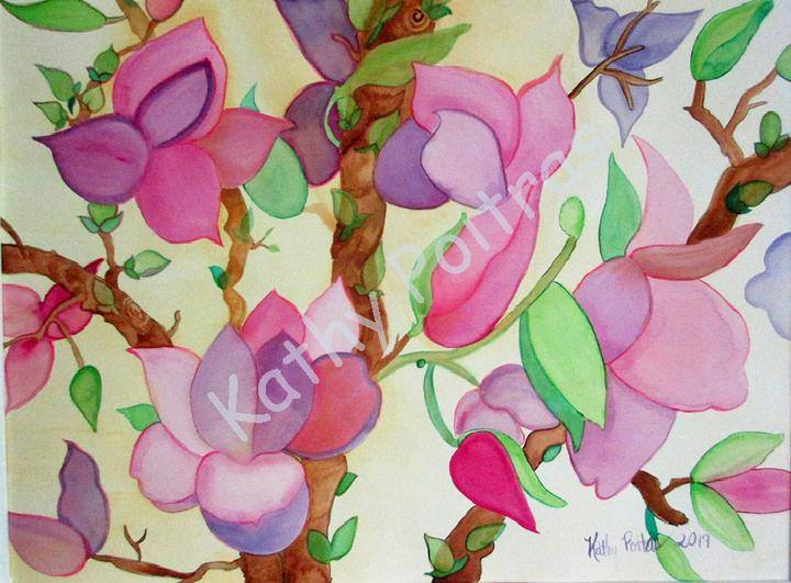 delicate pink magnolia  blossom wall art of a naïve watercolor painting by Canadian Artist Kathy Poitras