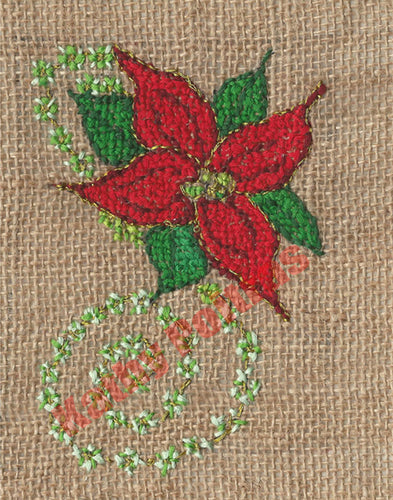 Poinsettia with swirl on Burlap  Christmas Cards