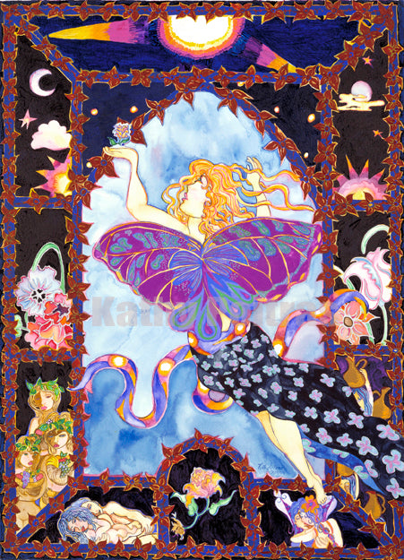 A blond fairy with butterfly wings ascends the worlds towards infinity. An expressionist fantasy painting.
