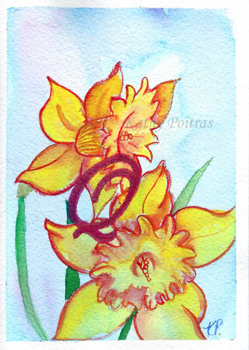 Greeting Card, Birthday Card, Mothers Day Card, watercolor and ink. Daffodils are the birth flower of the month for March. This flower of the month card is personalized with a fancy letter Q by artist Kathy Poitras