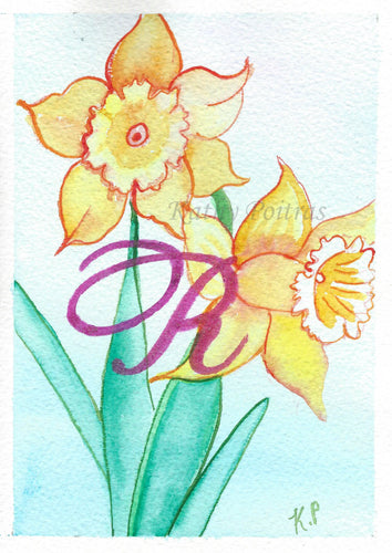 Greeting Card, Birthday Card, Mothers Day Card, watercolor and ink. Daffodils are the birth flower of the month for March. This flower of the month card is personalized with a fancy letter R by artist Kathy Poitras