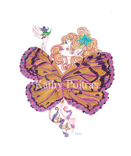 Sassy Yellow Haired Fairy 1F   One of a kind hand detailed print.