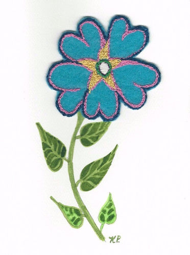folk art, One Forget Me Not, felt, hand embroidery, watercolor and ink