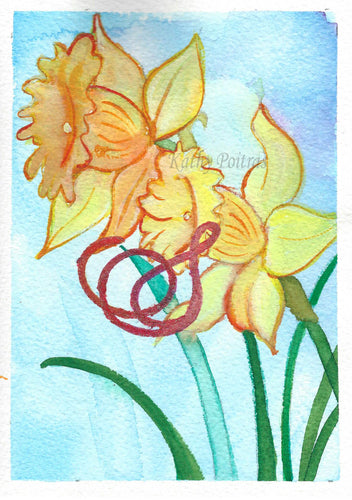 Greeting Card, Birthday Card, Mothers Day Card, Watercolor and ink. Daffodils, birth flower of the month for March. This flower of the month card is watercolor and ink, personalized with a fancy letter S by artist Kathy Poitras