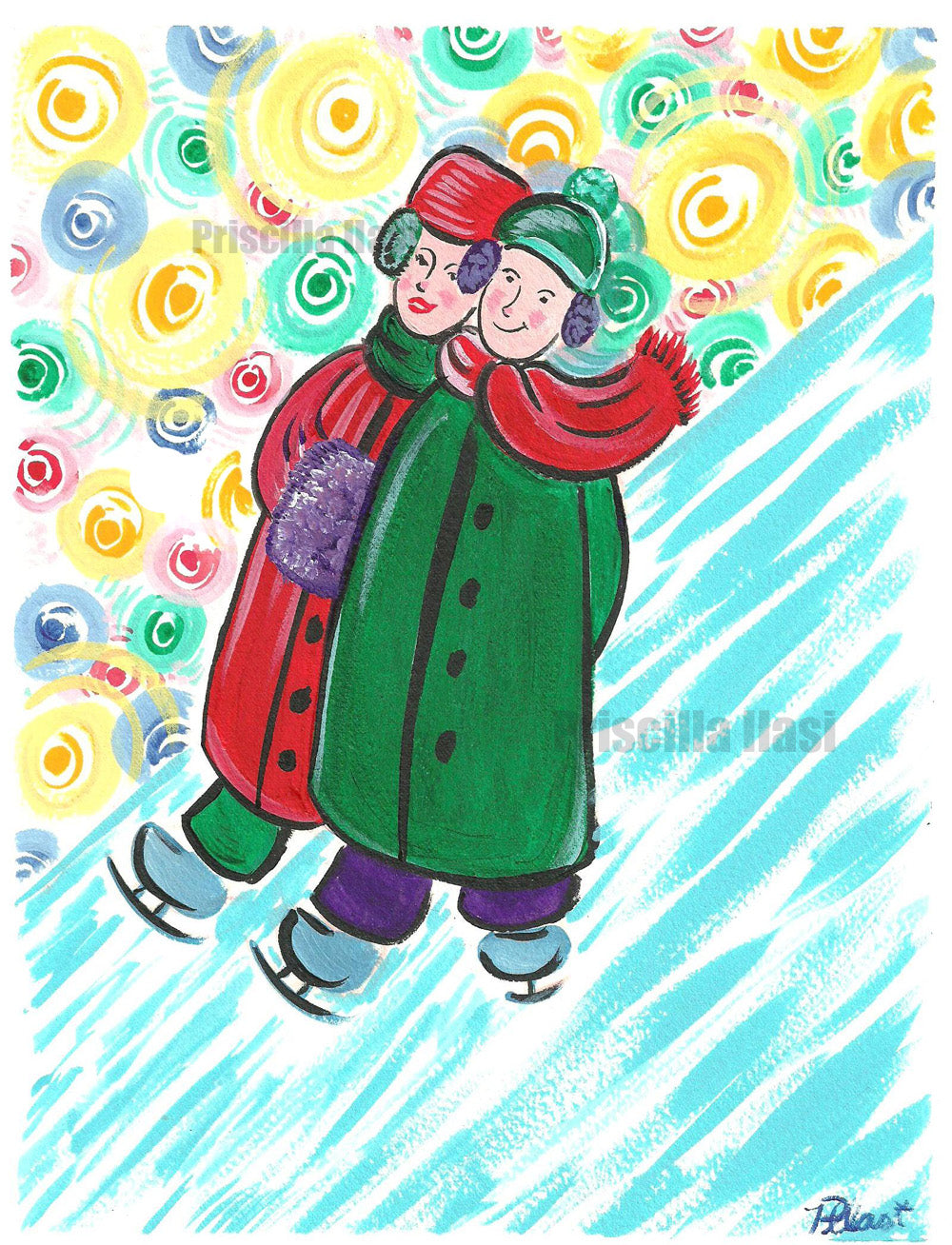 Printable instant download Christmas Card  Old Fashioned Christmas Skaters